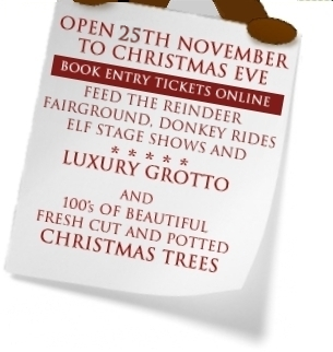 Reindeer Lodge and Santa's Grotto Chester, opens 27th November to Christmas Eve